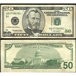 1996 $50 US Federal Reserve New York Star Note Crisp Unc (CUR-06240)