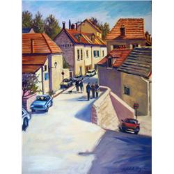 Michele Byrne, Sunlit Day in Auvers, Oil on Canvas