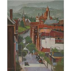 Michele Byrne, Farmers Market,  Oil on Canvas Panel