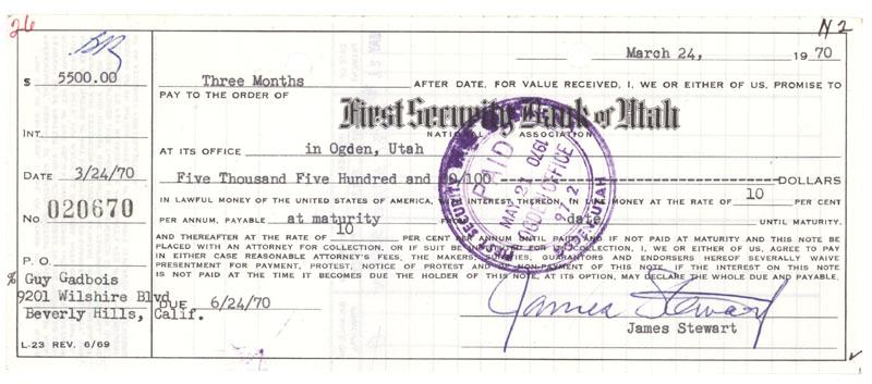 Image 1 : Bank Promissory Note Signed By Legendary Actor James Stewart  Draft Of Promissory Note