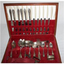 Wooden Box Of Misc. Silverware