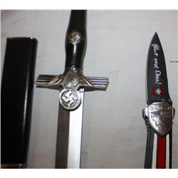 Lot of 2 Knives Nazi German Dagger, Guts & Glory