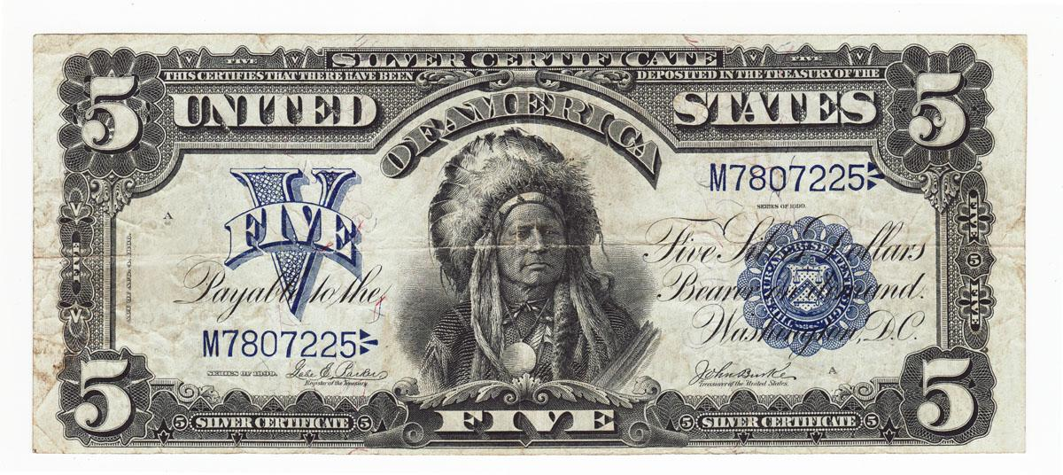 Hot 1899 5 Chief Onepapa Silver Certificate Fr 277 Hot