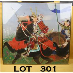 "Japanese painting on silk of Samurai warrior on  horseback with attendant. Approx. 34""h by 36""w.  Po"