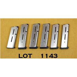 Lot of 6 Wilson Combat 1911 stainless magazines  with bumper pads, 5 full size 7 round and one  comp