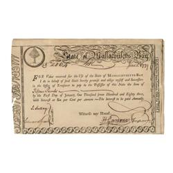 State Of Massachusetts Bay Lottery Bond Issued During The American Revolution
