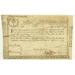 State Of Massachusetts Bay Bond Issued During The American Revolution To Finance A Naval Officers Pa