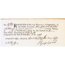 Order for interest on state notes signed by a  connecticut patriot who answered the lexington alarm!