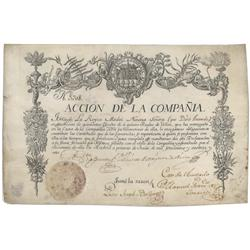 A Possibly Unique And Historically Significant Spanish Trading Company Stock Certificate Issued To T