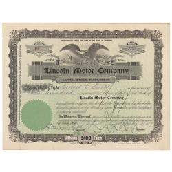 Lincoln Motor Company Stock Certificate Signed By Automotive Pioneer Henry Leland, Founder Of Cadill