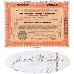 Pan American Airways  Stock Issued To And Signed By James McDonnell