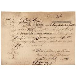 Farmers Bank Of The State Of Delaware Signed By Future Delaware Governor C. P. Comegys