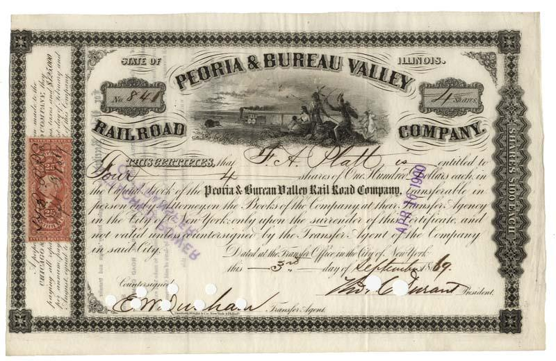 peoria bureau valley railroad company stock signed as president by thomas c durant. Black Bedroom Furniture Sets. Home Design Ideas