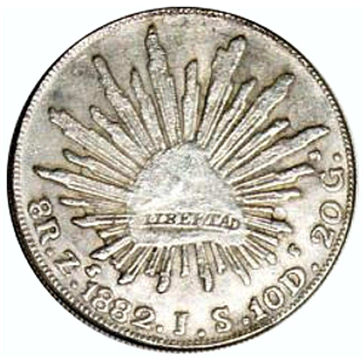10ea 1882 Zs JS MEXICO SILVER 8 REALES UNC ALL FOR ONE MONEY