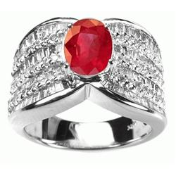 4.32 Carats Ruby Diamond Ring in 14k White Gold