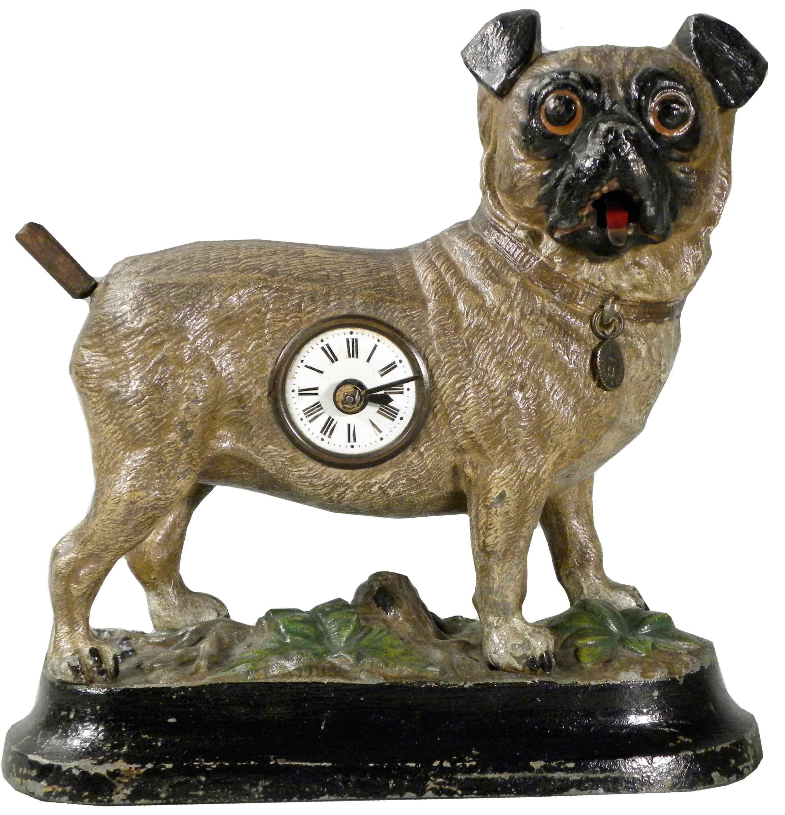 cast metal german animated pug dog clock