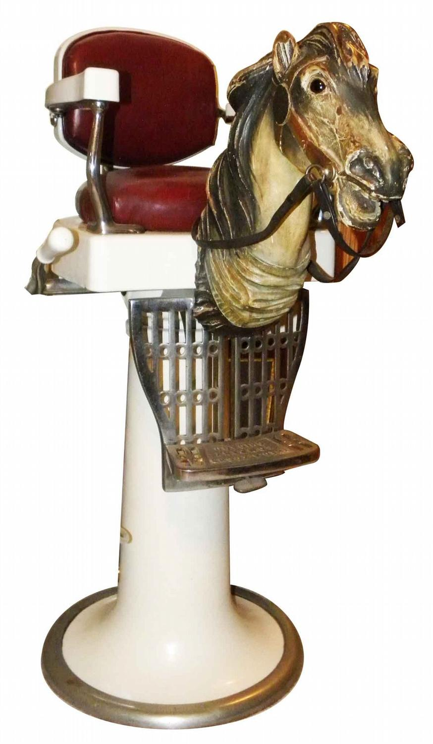 Vintage barber shop chairs - Koken Childs Barber Chair With Carved Horse Head Loading Zoom