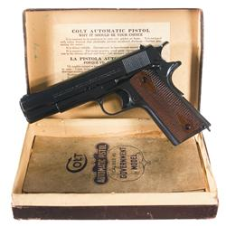 Excellent Colt Government Model Semi-Automatic Pistol with Original Box and Factory Letter