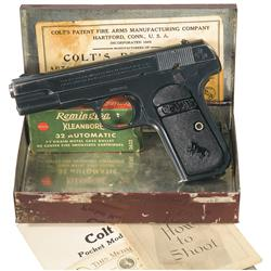Colt Model 1903 Hammerless 32 Pocket Pistol in Unique Tin Box