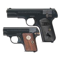 Two Colt Hammerless Semi-Automatic Pistols -A) Colt Model 1903 Pocket Hammerless Semi-Automatic Pist