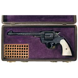 Magnificent Exhibition Grade Colt Officers Model 38 Factory Engraved Double Action Revolver with Pea