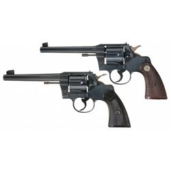 Two Colt Officer's Model Revolvers -A) Excellent Second Year Production Colt Officers Model .22 Doub
