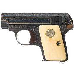 Custom Engraved and Gold Inlaid Colt Model 1908 Hammerless .25 Pocket Pistol with Ivory Grips, Extra