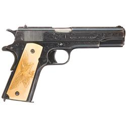 Period Engraved U.S. Colt Model 1911 Pistol with Raised Carved Ivory Eagle Grips, Holster, Pouch and