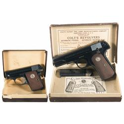 Two Colt Semi-Automatic Pistols -A) Colt Model 1908 .25 Caliber Semi-Automatic Pistol with Original