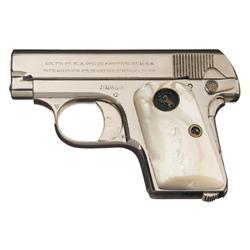 Colt Model 1908 Hammerless .25 Pocket Pistol with Pearl Grips