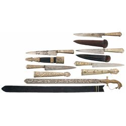 Five Silver Fitted Knives and One Sword, All with Sheaths