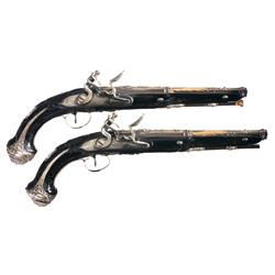 Superbly Decorated Pair of Exhibition Quality Presentation J. Lamotte Flintlock Pistols -A) Silver M