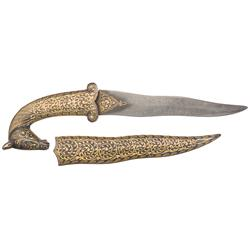Damascus Dagger with Unique Horse Head Pommel and Gold Inlay