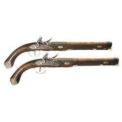 Magnificent Pair of 18th Century Gold Inlaid, Silver-Mounted, Liege Proofed Flintlock Pistols -A) 18