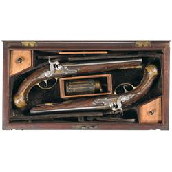 Cased Pair of Engraved Percussion Conversion Pistols -A) Inlaid and Engraved Percussion Conversion P