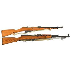 Two Military Carbines -A) Polish Mosin-Nagant Model 44 Bolt Action Carbine with Sling and Bayonet <b