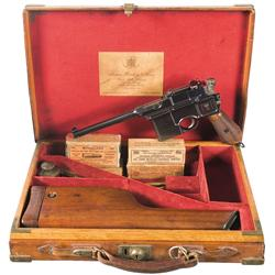 Cased Presentation 1896 Mauser  Cone Hammer  Pistol with J. Purdey & Sons Retailer Markings, Matchin
