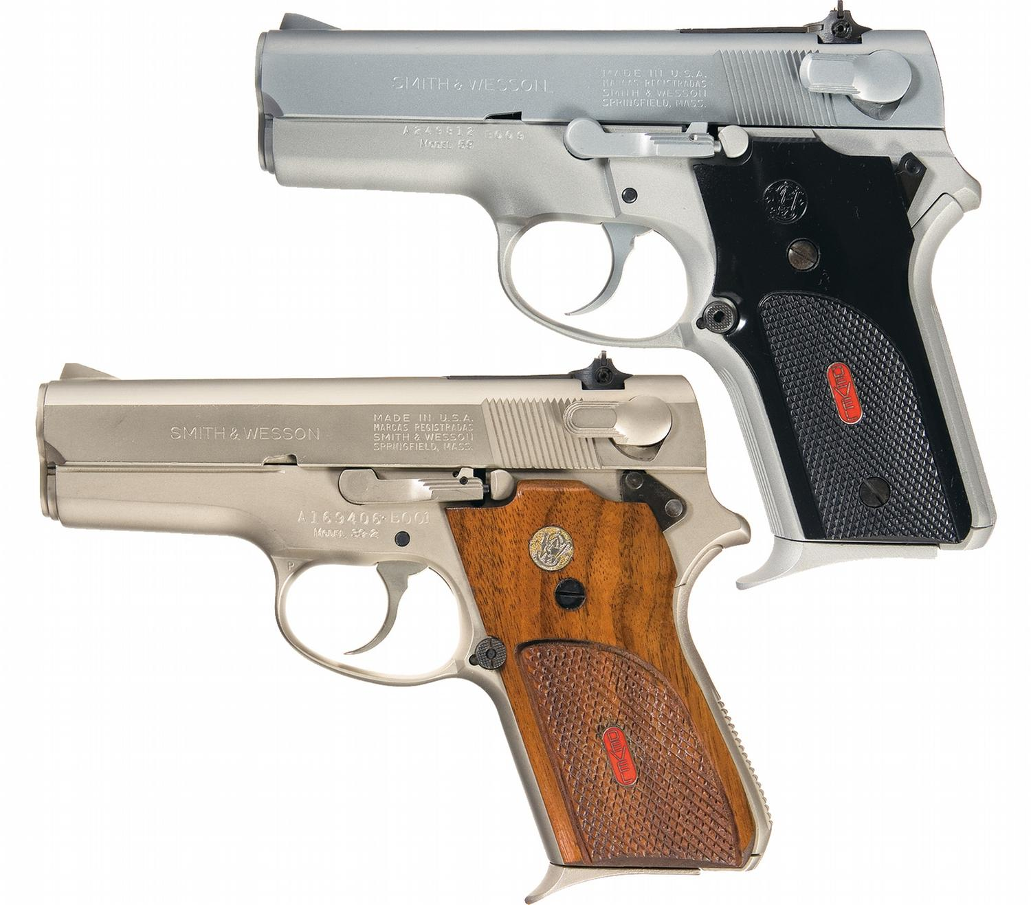 Two smith wesson semi automatic pistols a smith for K and w motors