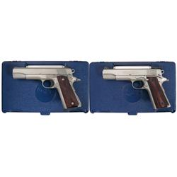 Two Cased Government Model Colt Pistols -A) Colt Government Model Series 80 MK IV Semi Automatic Pis