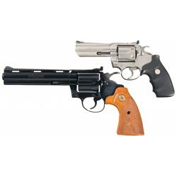 Two Colt Snake Revolvers -A) Stainless Steel Colt King Cobra Model Double Action Revolver   B) Co