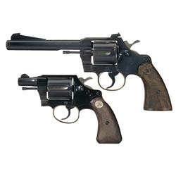 Two Colt Revolvers -A) Colt Officers Model Special Double Action Revolver   B) Colt Cobra Double