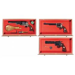 Cased Colt Bicentennial Three Revolver Set with Book -A) Colt U.S. Bicentennial Dragoon Revolver <br