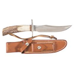 Randall Made Model 12 Bowie Knife with Special Features and Sheath