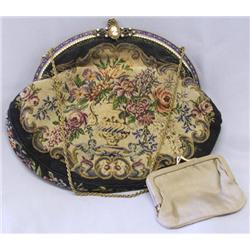 Antique Cameo Brocade Evening Purse