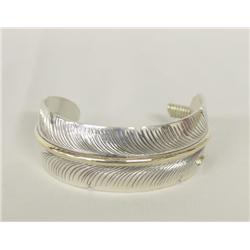Navajo Silver Feather Bracelet By Charley