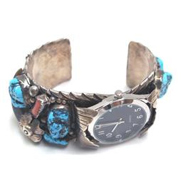 Navajo Turquoise Coral Sterling Silver Watch Band