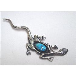 Navajo Silver Turquoise Lizard Pin by C. Lee