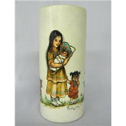 1979 Pictorial Vase ''Indian Family'' by L Avey