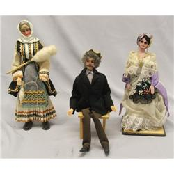 3 European Composition Wire Cloth Dolls