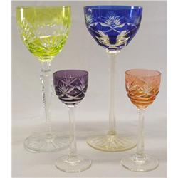 4 Czech Cut To Crystal Goblets